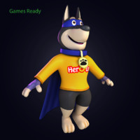 3d cartoon hero dog model