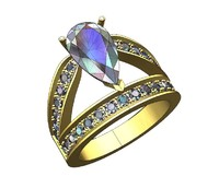 Pear shape solitaire pave ring