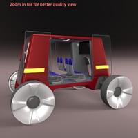 obj autonomous bus interior
