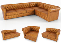 3d chesterfield traditional tufted classic sofa model