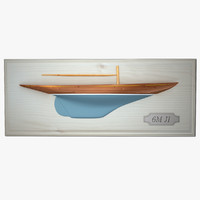 3d model decorative half hull sailboat
