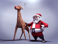 Santa claus and rudolph poligonal 3D