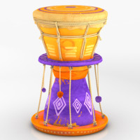 3d model drum rigged dynamic