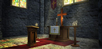 3d church bench carpet model