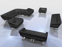 modular sectional seating 3d c4d