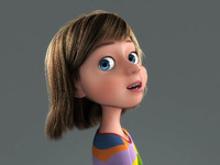 cartoon rigged girl 3d model