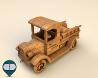 3d model of wood car wooden