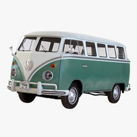 volkswagen type 2 green 3d model