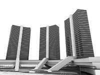 complex architectural structure 3d model
