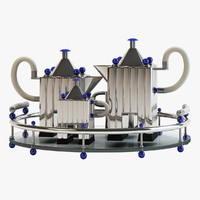 tea set tray silverware 3d model