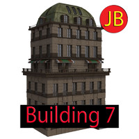 cartoon building 3d obj