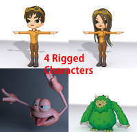 4 rigged characters 3d model