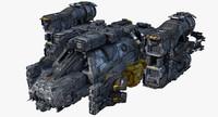 3d model sci fi cargoship scifi