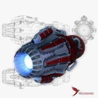 3d sci-fi engine model