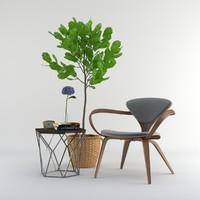 set 01 chair cherner 3d model