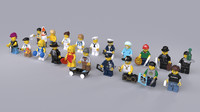 20 rigged lego minifigures 3d model