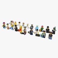 maya 20 rigged lego minifigures