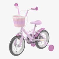 3d model little girl bicycle