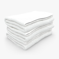 3d towel fold white model
