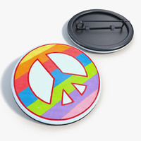 3d badge peace love
