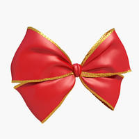 3d model of red bow