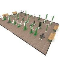 street gyms 3d model