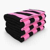towel fold black pink 3d 3ds