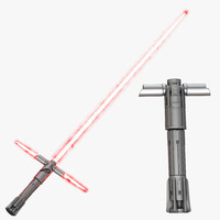 kylo ren lightsaber set 3d model