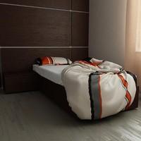 v-ray bed 90x200 3d model
