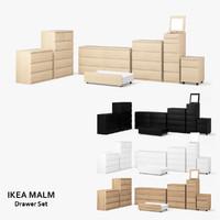 3d ikea malm drawer set