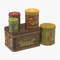 vintage kitchen tins 3d max
