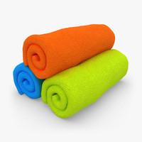 3d model towel roll 3 colors