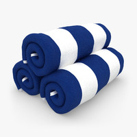 towel roll blue white 3d 3ds