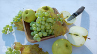 Fruit Bowl Grapes Leaves Apples Cut Damast Knife