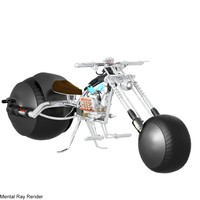 futuristic chopper motorcycle 3d model