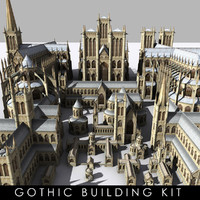 3d medieval gothic buildings cityscapes model