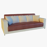 3d leather sofa pillows long model