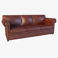 Sofa leather classic red