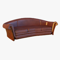 Sofa leather classic red wood