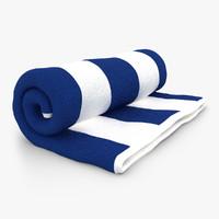 3d towel roll open blue model
