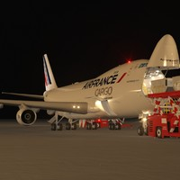 Night Scene of a Freighter Aircraft in Loading Operation