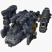 sci fi cargoship scifi 3d model