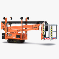3d telescopic boom lift orange model