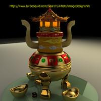 3d chinese gold ingot pot