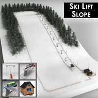 3d ski lift pack mountains
