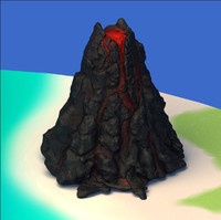 3d volcano island landscape