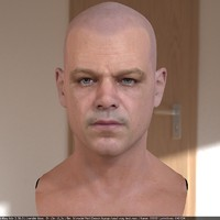 3d matt damon head male model
