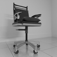 3d model leather rotating office chair