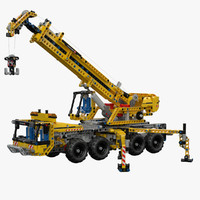3d lego technic mobile crane model