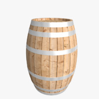 3d model of barrel wooden wood